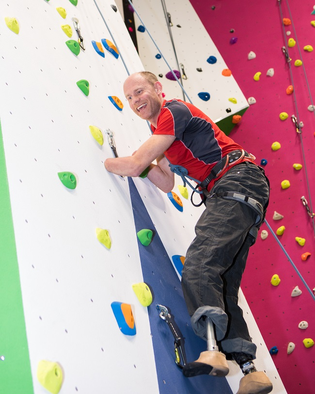 Jamie Andrew climbs the new wall at Perth Climbing Centre