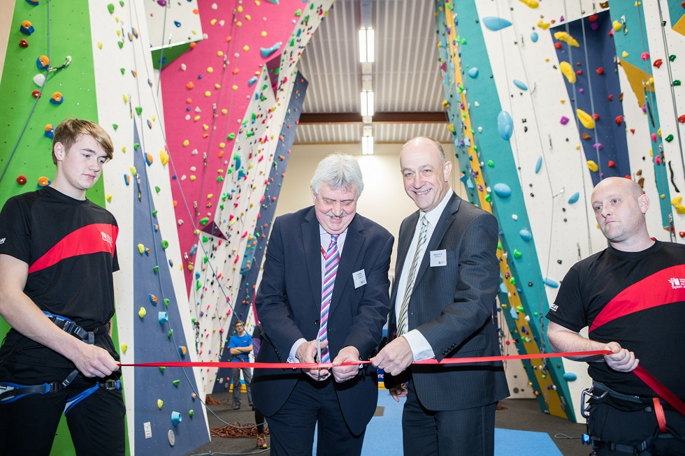 Grant Myles of Perth UHI and Stewart Harris of sportscotland open the Perth Climbing Centre