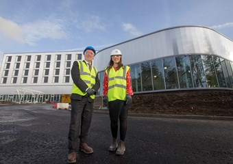 John Kent, principal of Inverclyde, with Aileen Campbell MSP