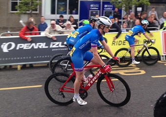 A cyclist participating in the Scottish Cycling Tour Series