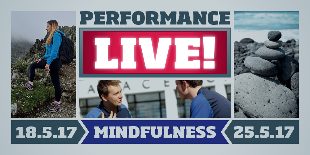 A graphic depicting Performance LIVE! Mindfulness shows on 18/25 May