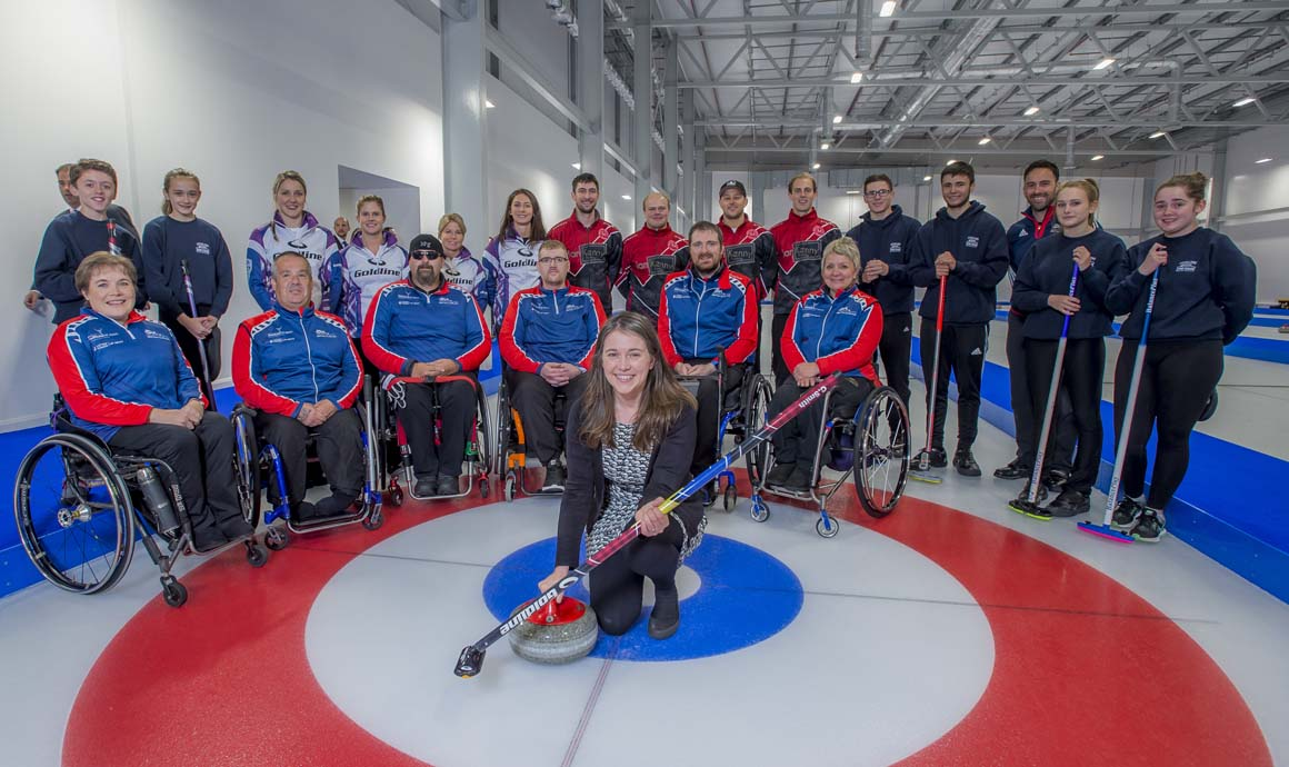 MSP Aileen Campbell meets Curling rinks at the opening of the National Curling Academy
