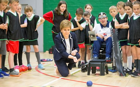 First Minister Nicola Sturgeon plays boccia at the opening of sportscotland National Centre Inverclyde