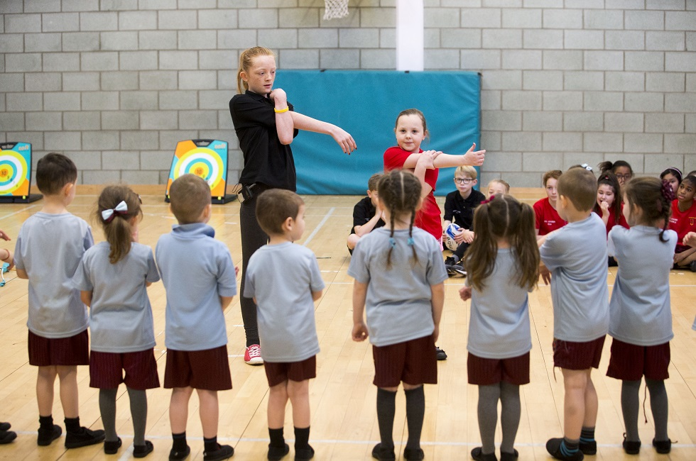 St Rose of Lima pupils have been encouraged to help younger children get involved in sport