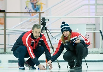 Kenny More of the sportscotland institute of sport with wheelchair curling head coach Sheila Swan