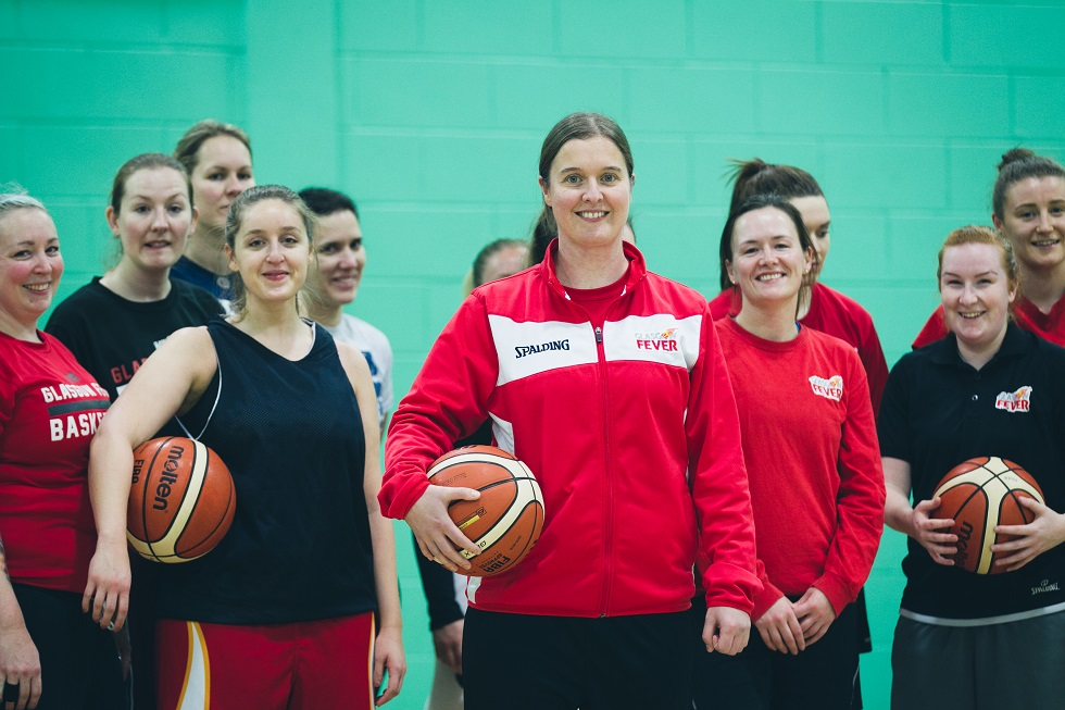 Adrienne Hunter with Glasgow Fever players