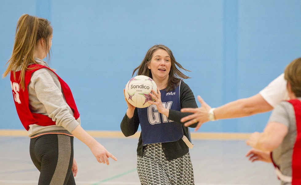 Aileen Campbell gives walking netball a try
