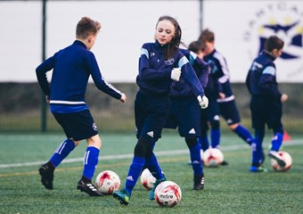 A female youth player at Gartcairn Football Academy