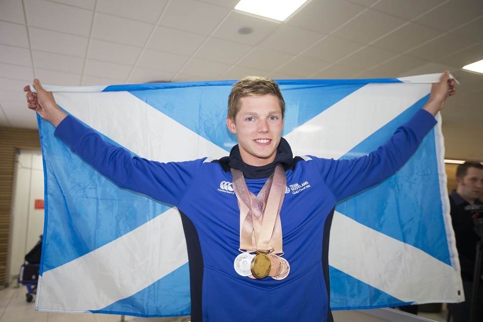 Team Scotland's Duncan Scott with his six medals from the 2018 Commonwealth Games