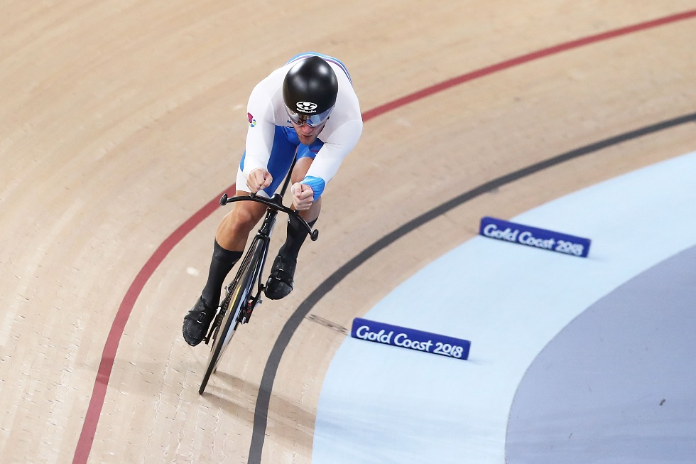Callum Skinner cycling for Team Scotland at Gold Coast 2018