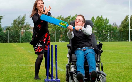 Sports Minister Aileen Campbell MSP plays cricket
