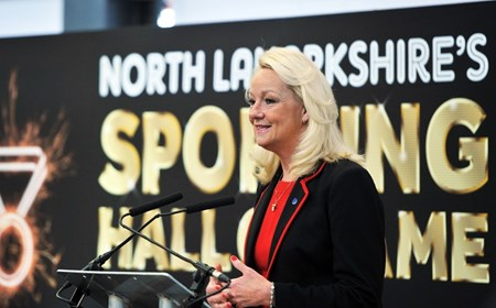 Margaret Ann Fleming speaks at her induction to the North Lanarkshire Sports Hall of Fame