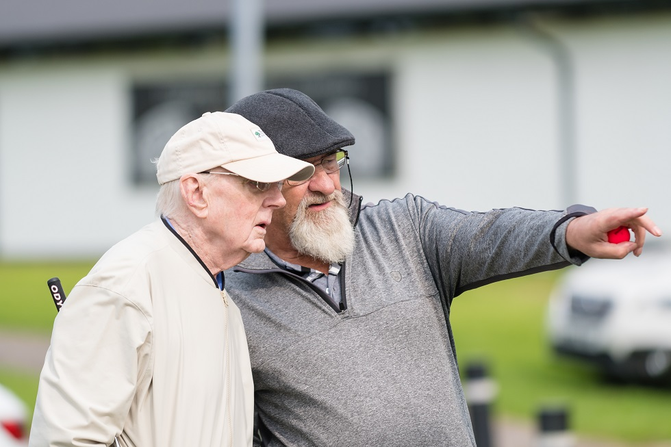 Alan Dodd with dementia sufferer Brian at Mearns Castle Golf Club