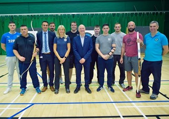 Minister for Sport Joe FitzPatrick with service veterans at sportscotland Inverclyde