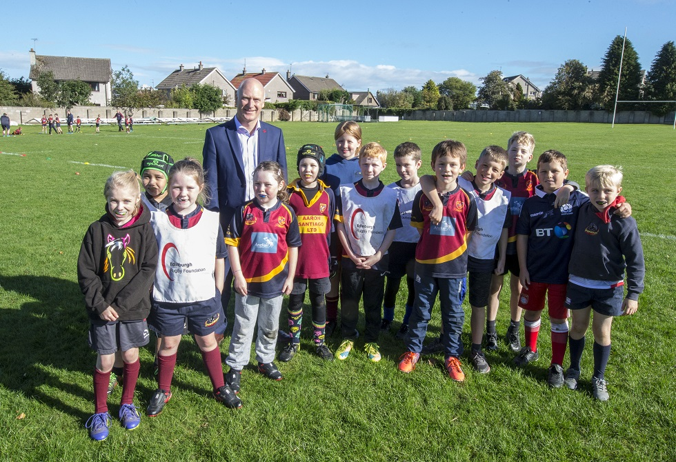 Joe FitzPatrick with children from Forthill Community Sports Club