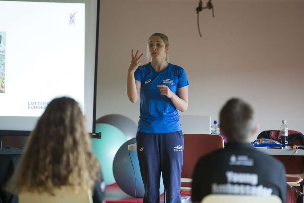 Caitlin McClatchey during an appearance at a sportscotland Young Ambassadors conference