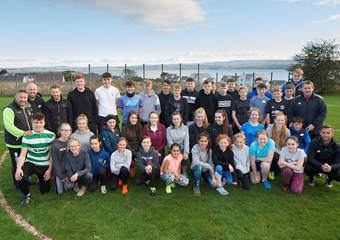 Fortrose Academy pupils with the coaches
