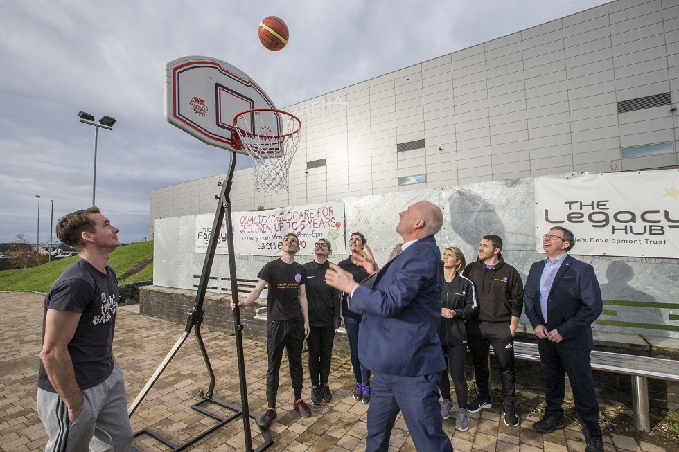 Sports Minister Joe FitzPatrick plays basketball