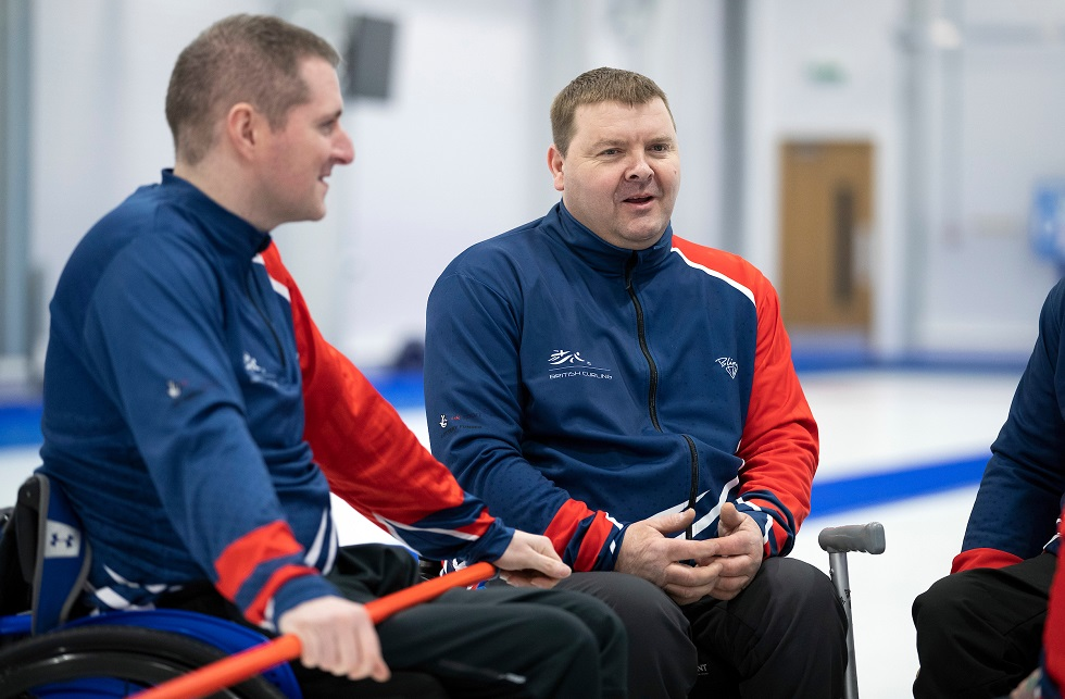 Wheelchair curler David Melrose with Hugh Nibloe by Graeme Hart