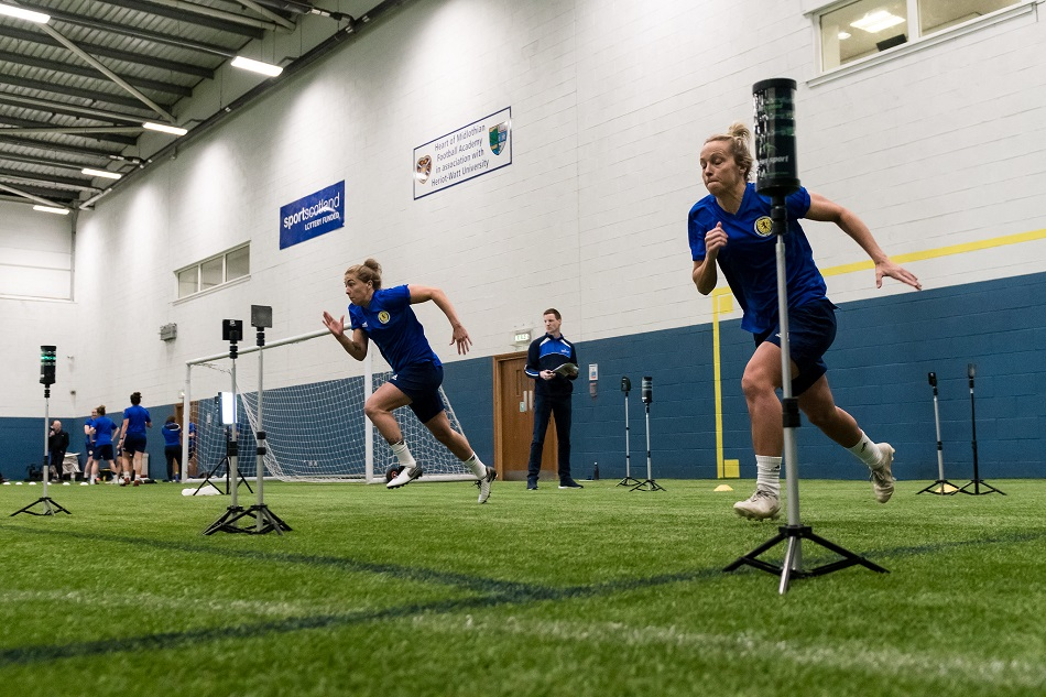 Scotland women's football team in fitness testing with sportscotland