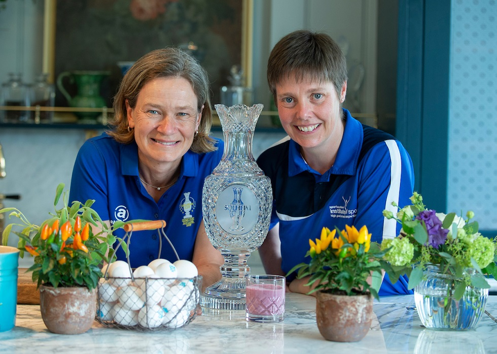 Solheim Cup captain Catriona Matthew with sportscotland head of performance nutrition Irene Riach