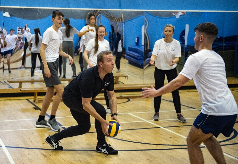 Sir Chris Hoy and Tynecastle High pupils