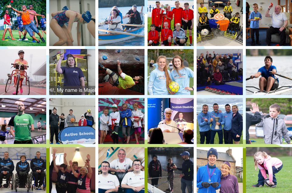A collage of images from sportscotland's sport for all 2019 campaign