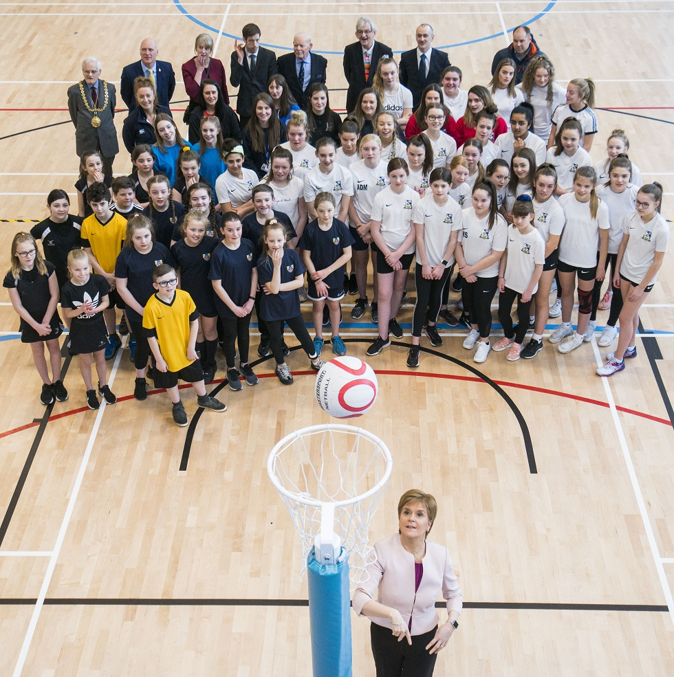 Nicola Sturgeon plays netball at the official opening of RPC Dundee