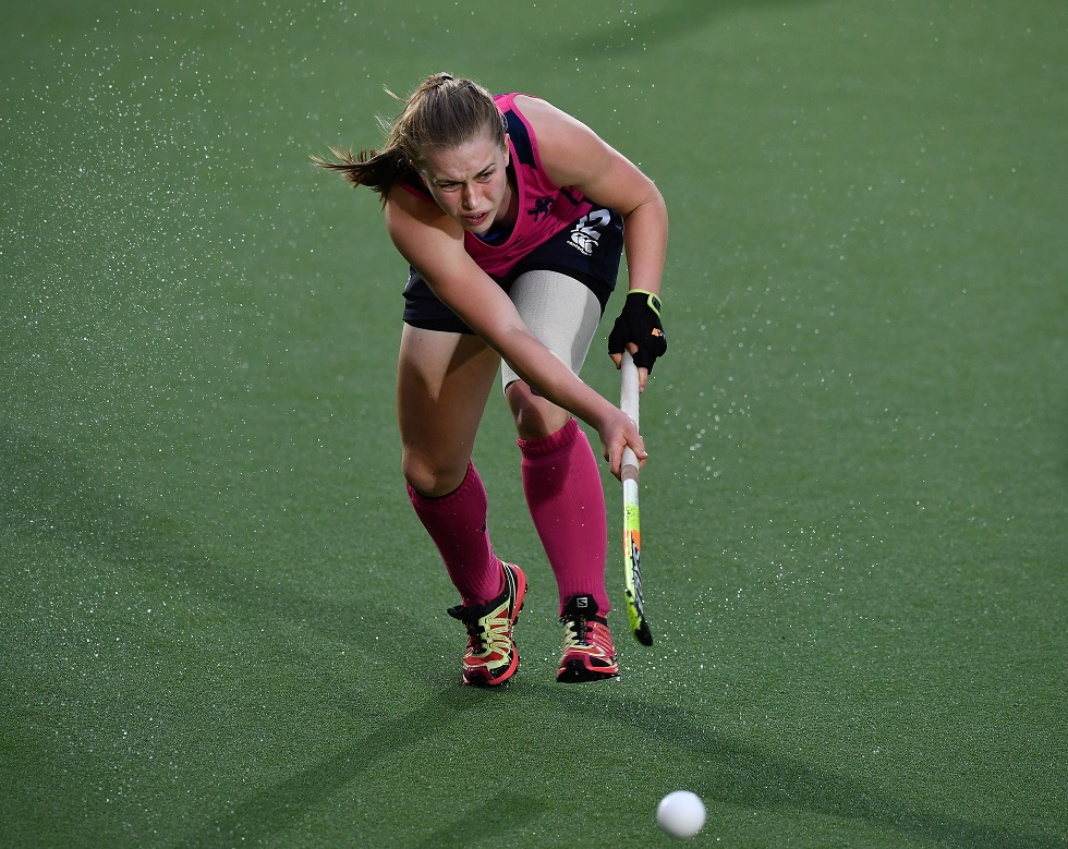 Charlotte Watson in action for Scotland women's hockey team