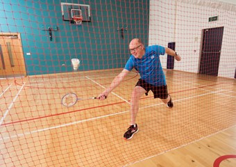 Dorian Marshall playing badminton at St Madoes Active Sport Hub